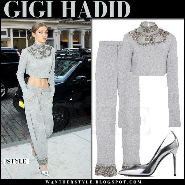 Gigi Hadid in grey embellished cropped sweatshirt and grey embellished sweatpants sally lapointe silver stella luna pumps  what she wore april 2017