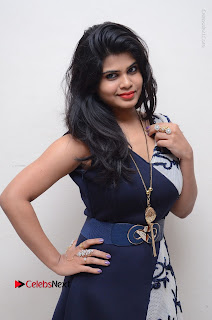 Telugu Actress Alekhya Stills in Blue Long Dress at Plus One ( 1) Audio Launch  0024.jpg