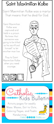 Catholic Kids Bulletin Coloring Page Saint Maximilian Kolbe
