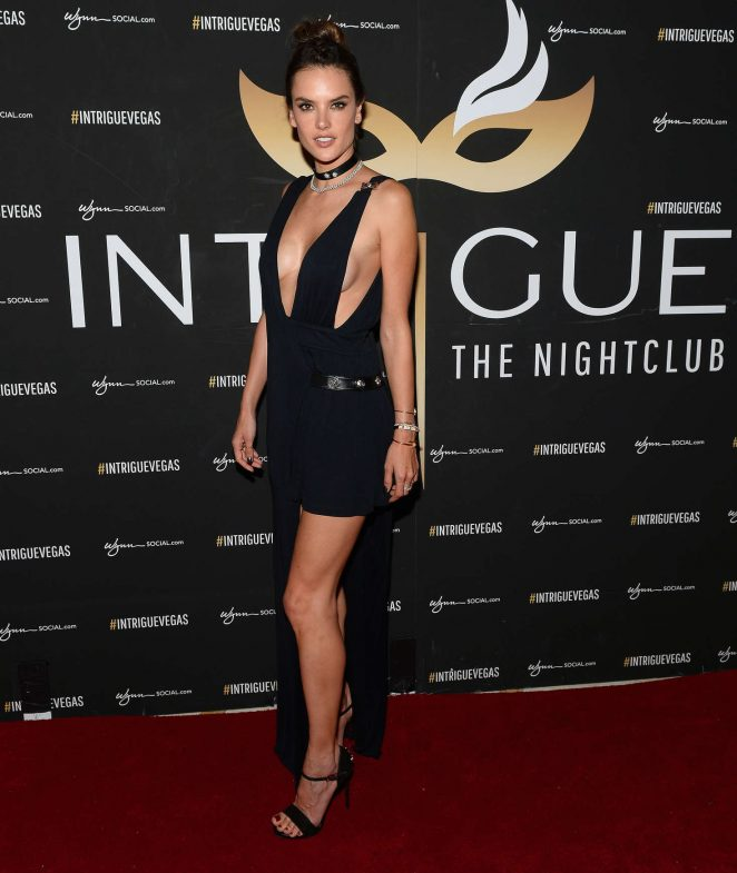 Alessandra Ambrosio sizzles in a very plunging dress at Las Vegas club