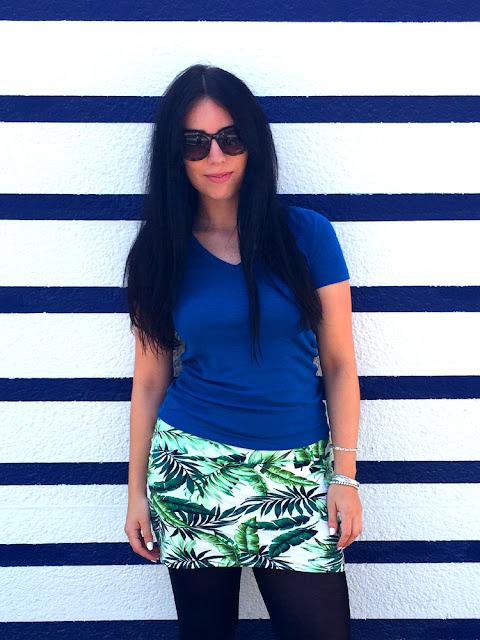 London fashion blogger Emma Louise Layla in classic Petit Bateau v-neck tee