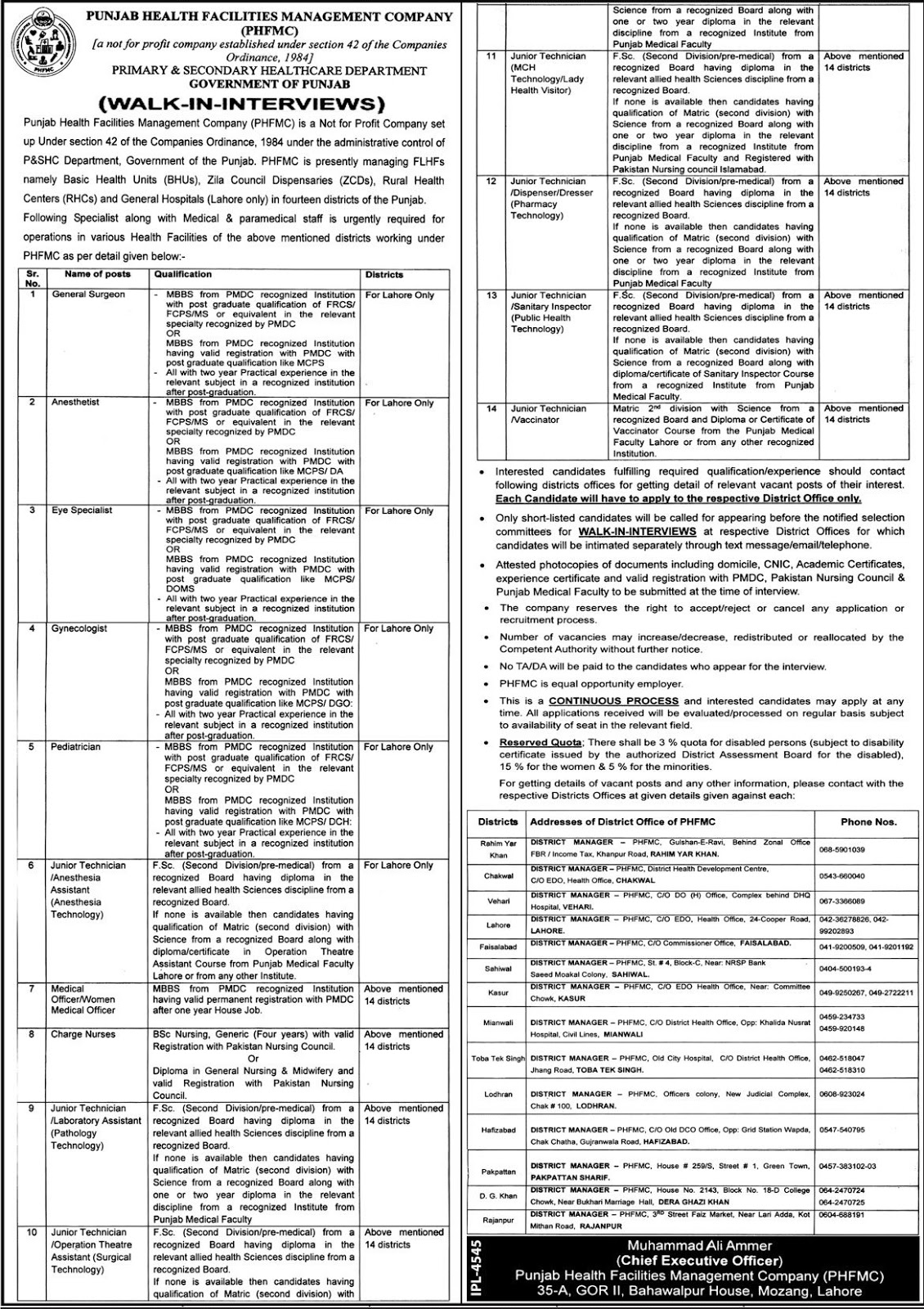 Jobs in Primary and Secondary Health Care Department Government of Punjab 13 April The Jang News paper.