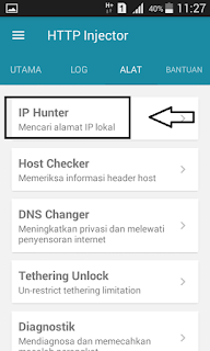 Mencari IP address skati di http injector