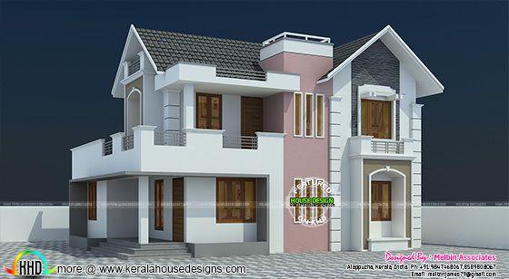 1694 sq-ft modern sloped roof home