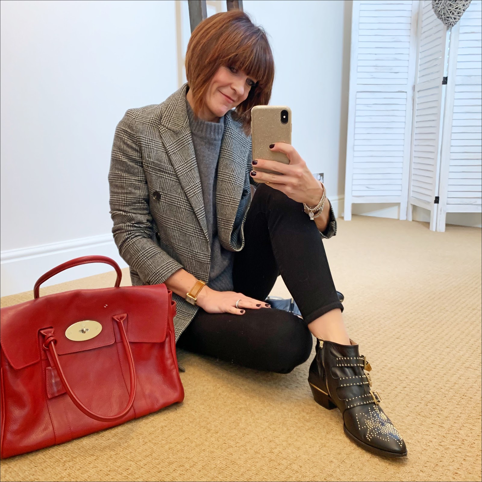 my midlife fashion, chloe susanna boots, mulberry bayswater bag, j crew 8 stretchy toothpick jean in true black, all saints astrid check blazer, zara cashmere jumper