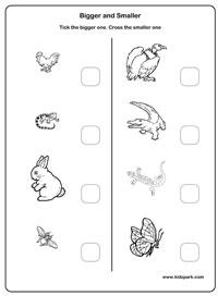 Kids Worksheets: Find bigger or Smaller - Worksheet for kids
