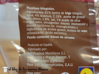 Ingredientes de los picos (o colines) integrales LA CESTERA de Lidl en el blog de las marcas blancas.