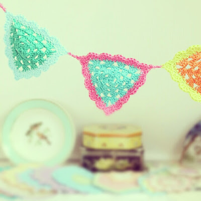 ByHaafner, garland, bunting, crochet, vintage tins, pastel doily, thrifted plate with birds