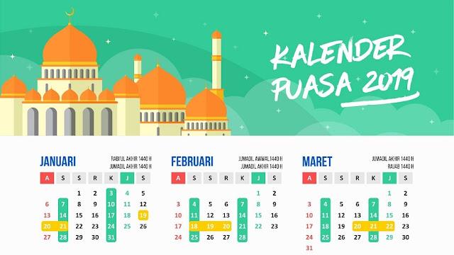 Download Kalender Puasa 2019, Sunnah dan Wajib