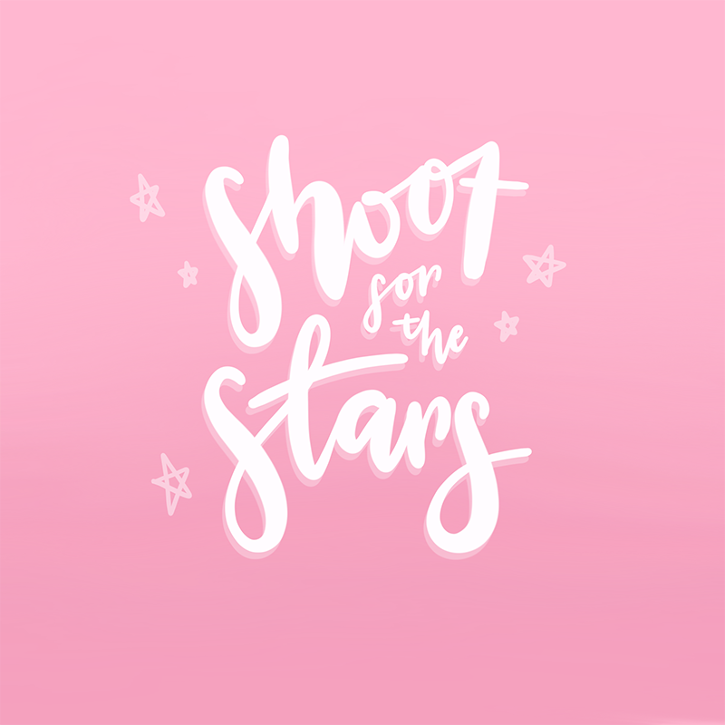 shoot for the stars creative goals of 2018 illustration hand lettering