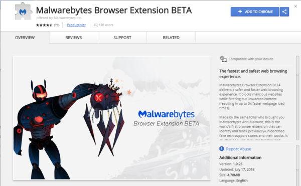 Malwarebytes Browser Extensión para Chrome - El Blog de HiiARA