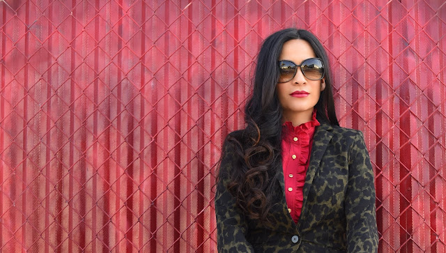 H&M Black and Green animal print blazer Red Talbots ruffle collar blouse Tom Ford Sunglasses