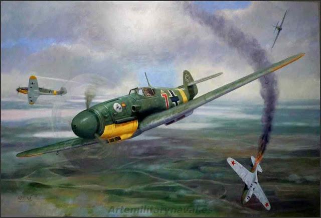 Oleo combate aereo Escuadrilla Azul contra avión ruso