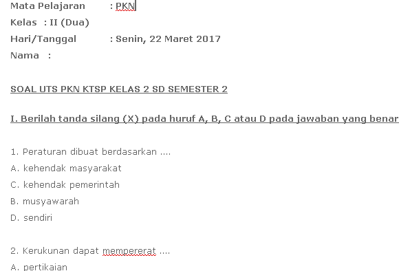 Contoh Soal UTS PKN SD Kelas 2 Semester 2 KTSP Download