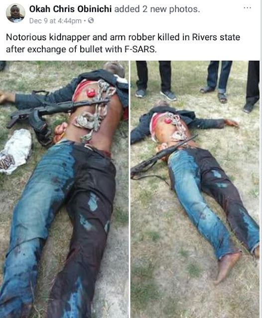 Photos: Suspected kidnapper allegedly shot dead after gun duel with SARS operatives in Emohua, Rivers State