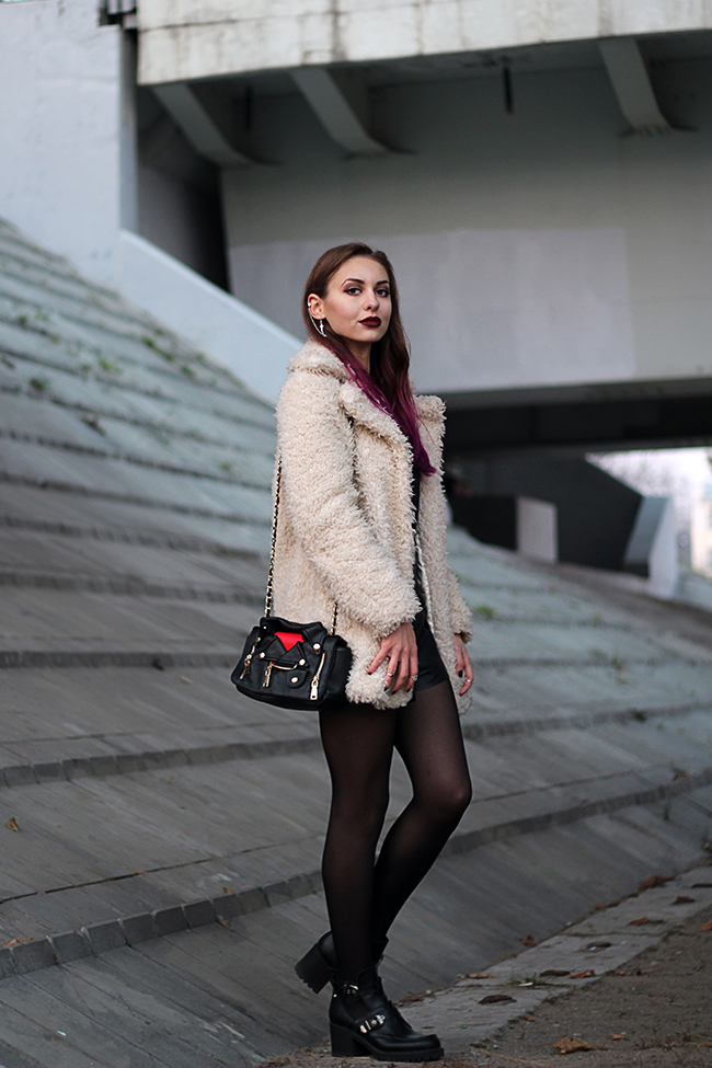 faux fur coat look