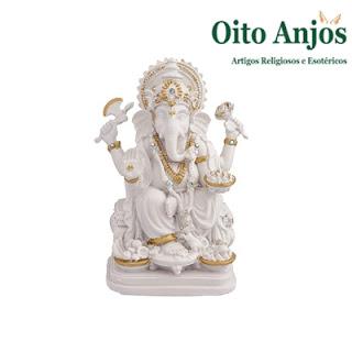 Imagem Ganesha Branco Deus Hindu da Prosperidade