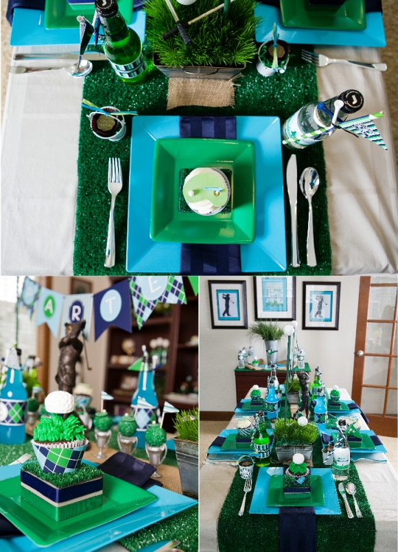 Golf Party Ideas and Table Setting Tablescape  - via BirdsParty.com