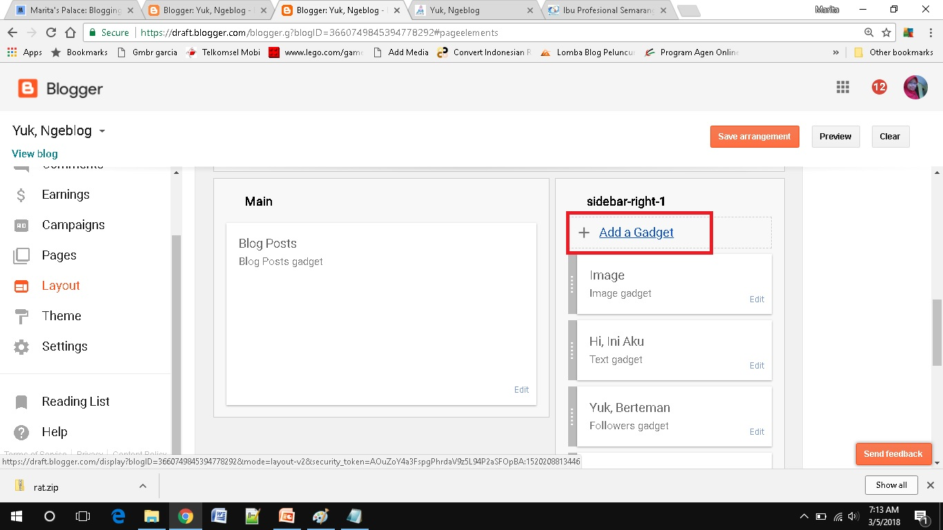 cara mudah menambah social media button di blogspot tambahkan gadget