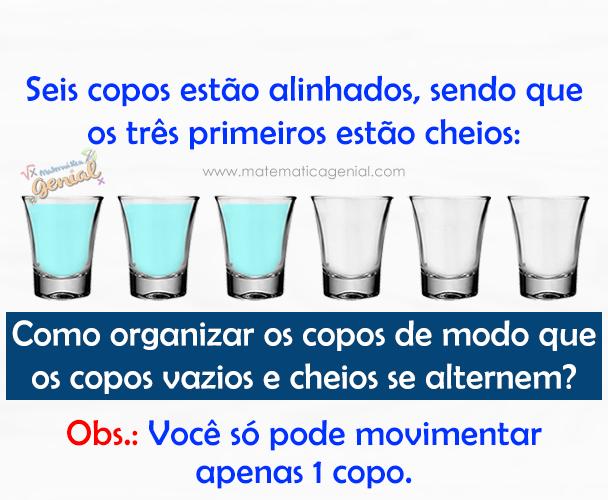 Seis copos estão alinhados, sendo que os três primeiros estão cheios: Como organizar...