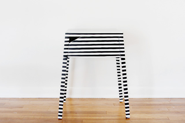 Demo Before - After Striped Nightstand Ikea