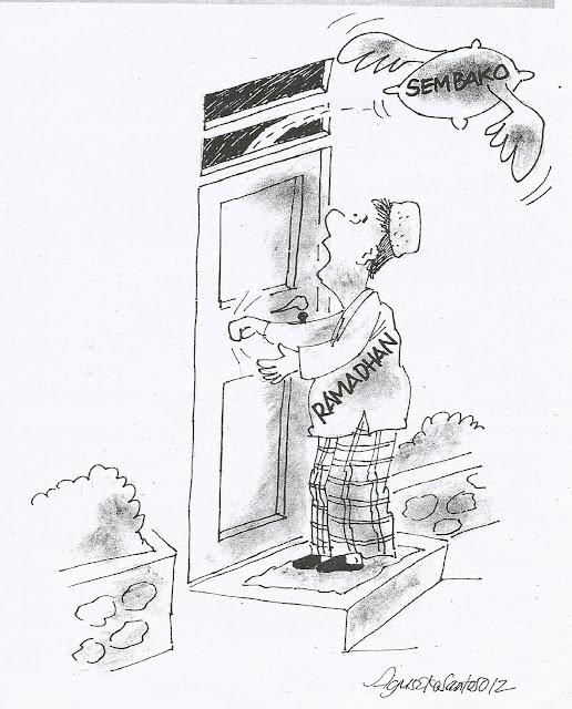 Bulan Ramadhan, Harga Sembako Naik. Kartun Karya Agus Eko Santoso. Kartun ini pernah dimuat di media massa pada 22 Juli 2012.