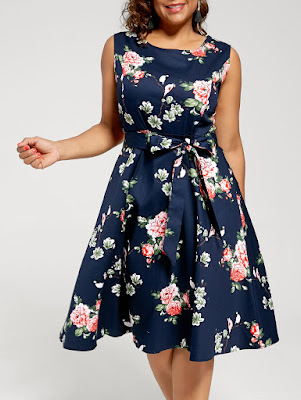 Floral Sleeveless Plus Size Tea Length Dress