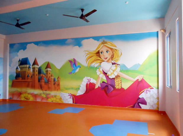 Wall Art For Play School : Play school wall painting interior decoration