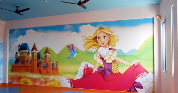 Wall Decoration In Play School : Play school wall painting interior decoration