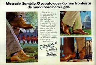 propaganda sapatos Samello - 1978; sapatos masculinos decada de 70;  moda masculina anos 70; moda anos 70; propaganda anos 70; história da década de 70; reclames anos 70; brazil in the 70s; Oswaldo Hernandez