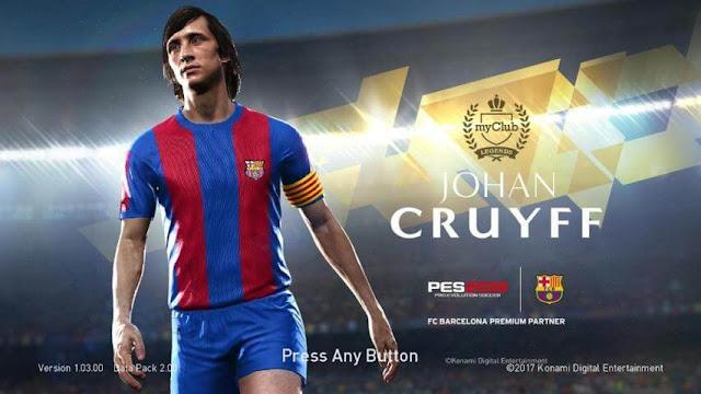 Johan Cruyff Start Screen PES 2018