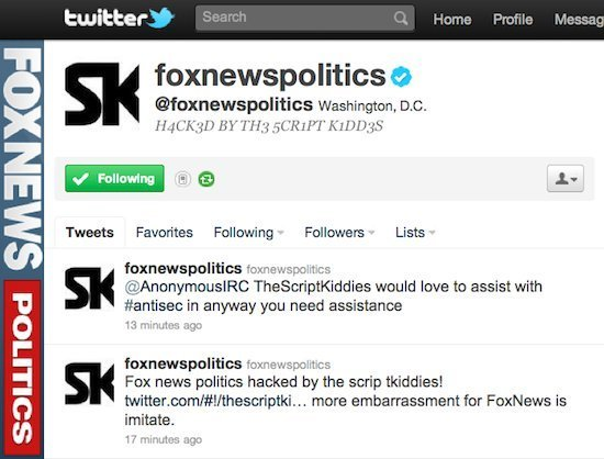 FOX News Twitter Account Hacked by 5CR1PT K1DD3S