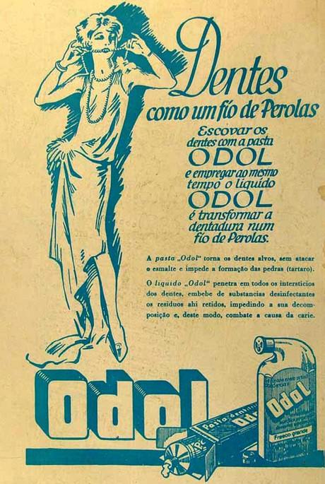 Campanha publicitária do creme dental Odol nos anos 30 para higienizar as dentaduras