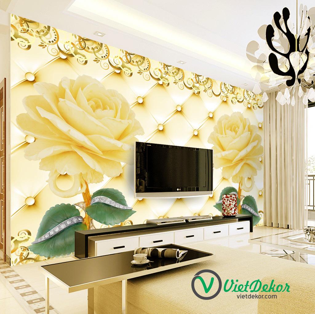 Tranh dán tường 3d hoa hồng vàng