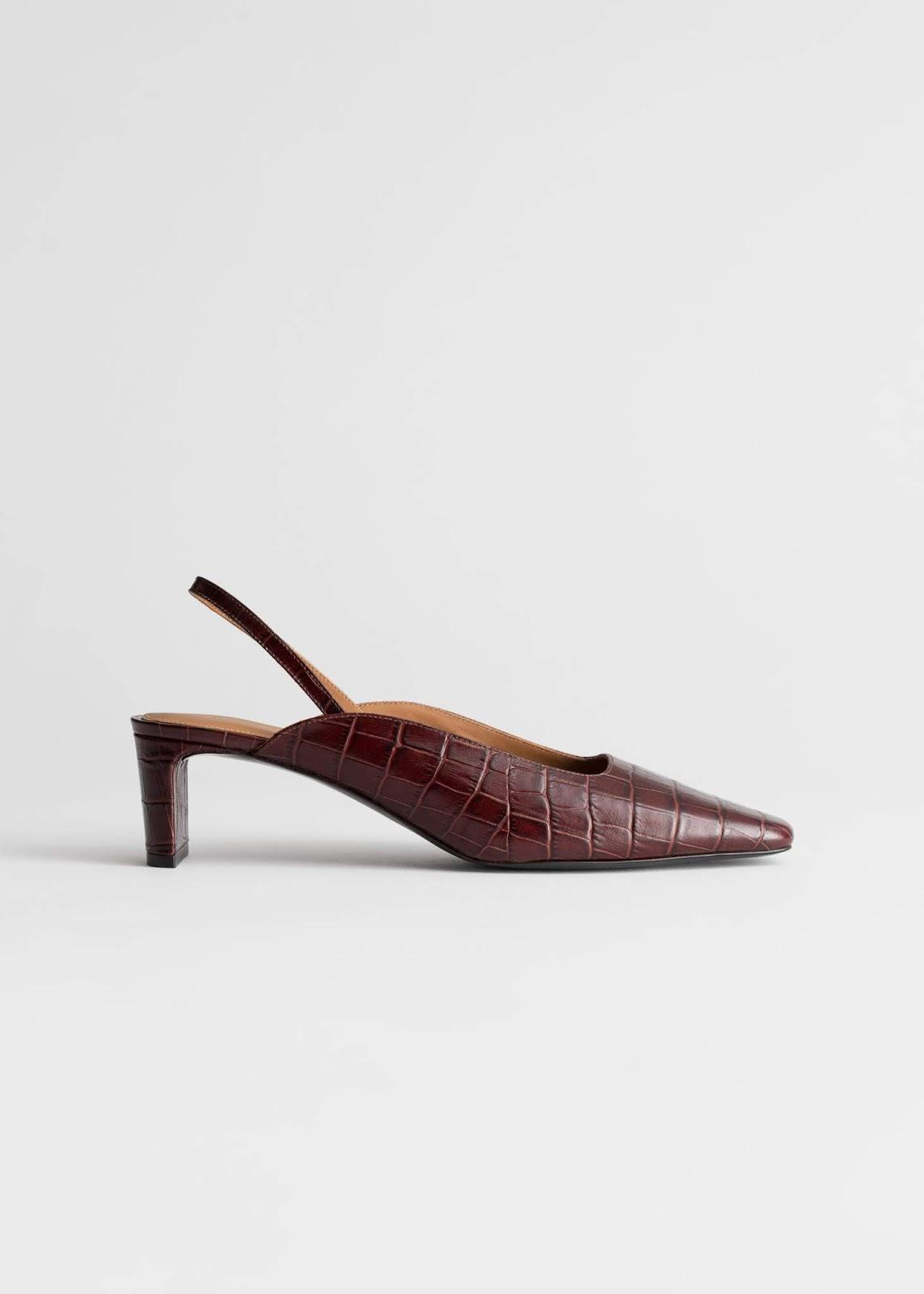 Cool Square-Toe Croc-Embossed Mule Heels