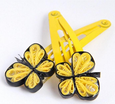 Yellow quilling paper designs hair clip accessories for kids - quillingpaperdesigns