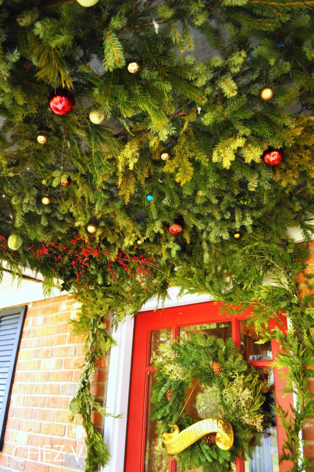 Chez V Christmas Tree Porch Canopy