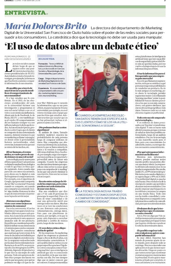 Entrevista a Ma. Dolores Brito, profesora de la USFQ