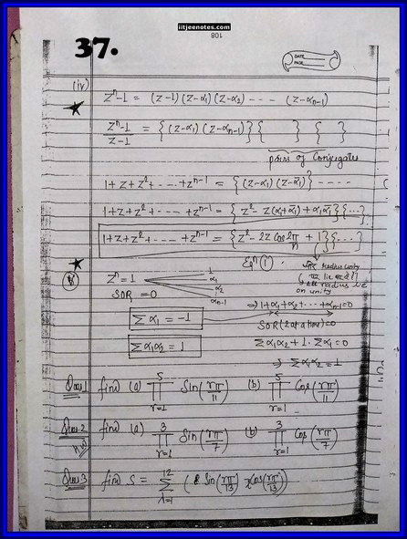 IITJEE Competition Notes On Complex Number 37