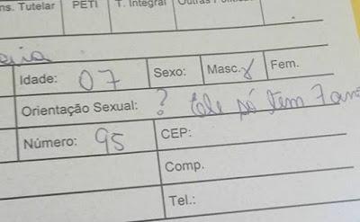Orientação sexual em formulário de projeto social para crianças gera polêmica em Vitória