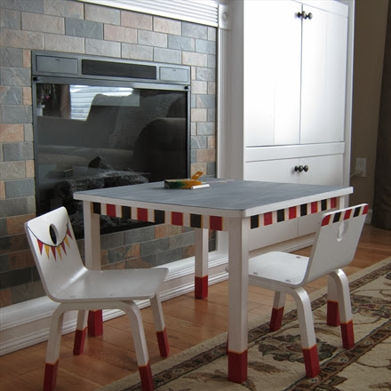 Mismatched Children's Table and Chairs Unified With Paint