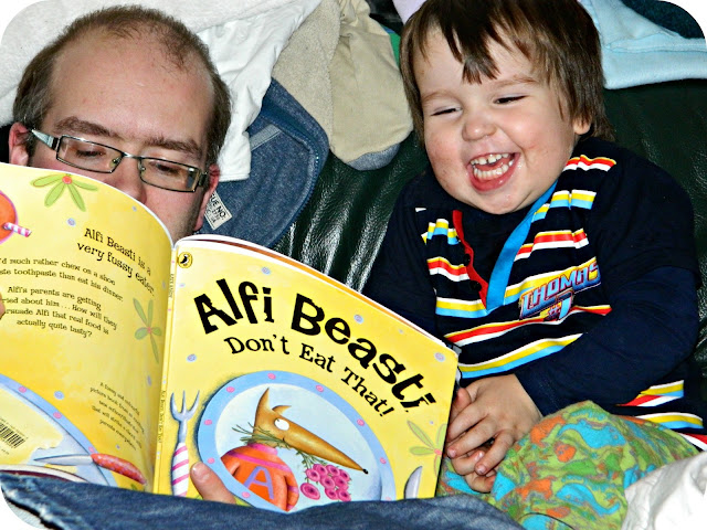 Alfi Beasti Bedtime Story book small boy laughing reading Daddy