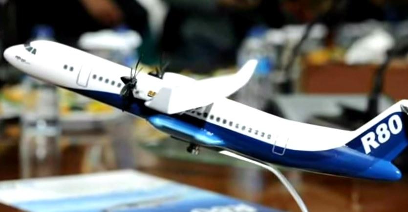 Gambar bentuk desain dan spesifikasi pesawat R80 buatan Indonesia