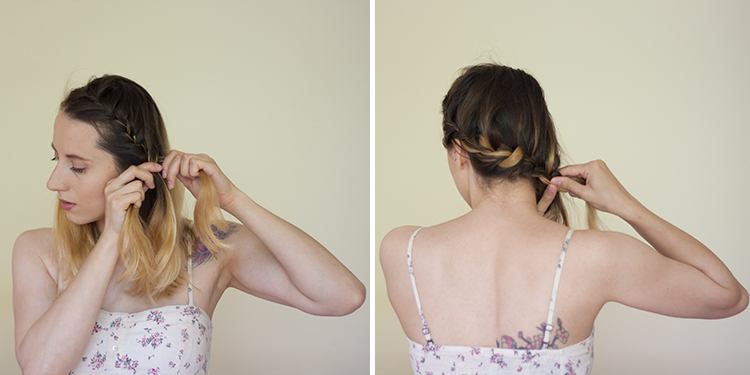 medium hair side braid hairstyle tutorial