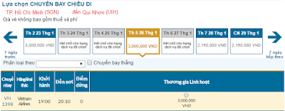Giá vé máy bay tết 2017 TPHCM đi Quy Nhơn