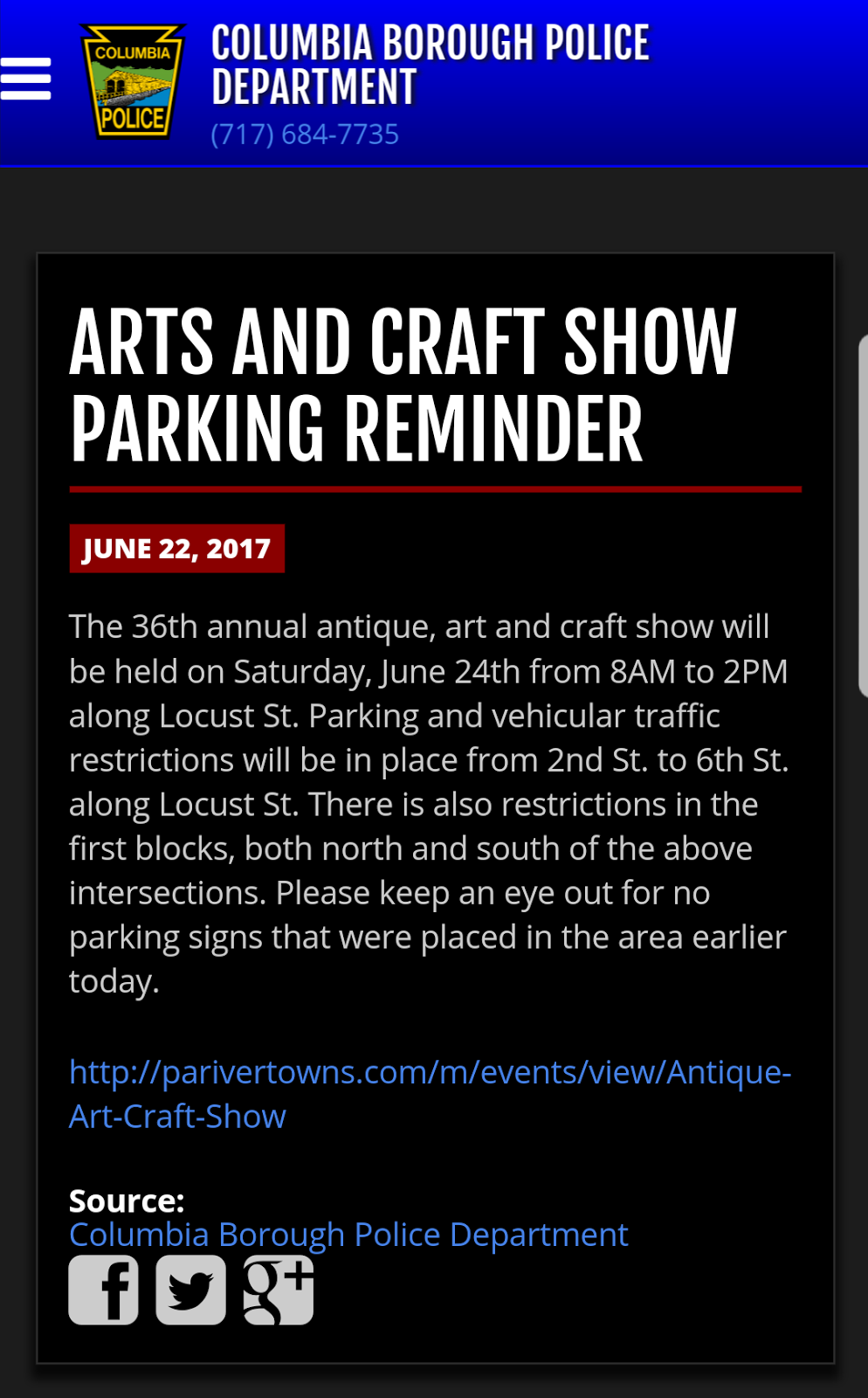 Columbia spy parking and traffic restrictions for for Columbia craft show 2017
