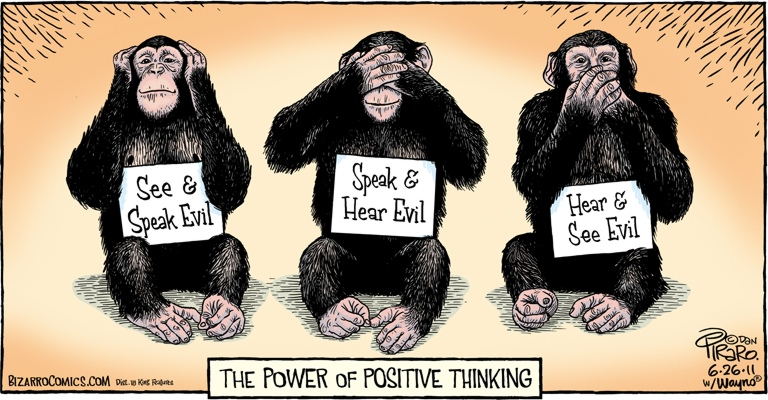 Bizarro Comics: The Power of Positive Thinking -- (for lawyers) -- See & Speak Evil -- Speak & Hear Evil -- Hear & See Evil