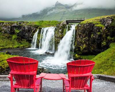 View of Kirkjufellsfoss waterfall during August in Iceland