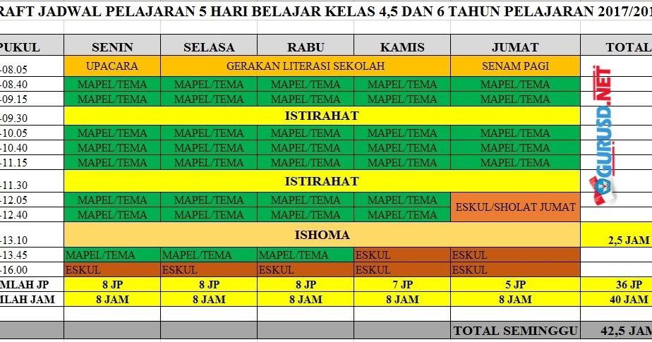 Jadwal Pelajaran Lima Hari Sekolah Berdasarkan Permendikbud 23 Tahun 2017 Kurikulum 2013 Revisi