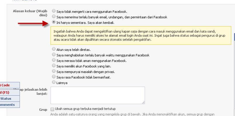 Cara ketiga Menghapus dan menonaktifkan Akun Facebook